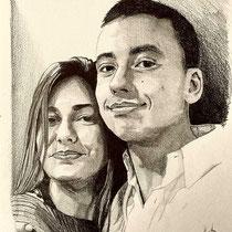 Portrait joli couple, crayon graphite, 29.7x21 cm, réalisé par Natpalette