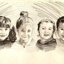 Portrait de quatre cousines, crayon graphite, 29.7x42 cm, réalisé par Natpalette