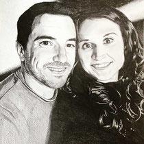 Portrait couple, crayons graphites, 42x29.7 cm, réalisé par Natpalette