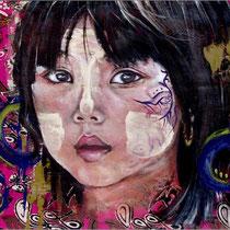 Qui es-tu..., acrylique sur tissu, 55x70 cm, portrait de voyage réalisé par Natpalette (VENDU)
