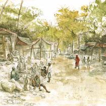 Carrière de fabrique de bouddhas à Mandalay, aquarelle et crayon graphite sur carnet de voyage, réalisé par Natpalette