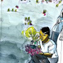 Loi Kratong à Bangkok en Thailande, aquarelle et stylo sur carnet de voyage, réalisé par Natpalette