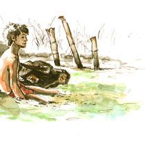 Jeune sur un buffle, aquarelle sur carnet de voyage, réalisé par Natpalette