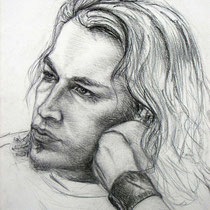 Portrait d' Alexis, fusain, 65x50 cm, réalisé par Natpalette
