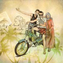 Les trois amis, aquarelle et stylo sur papier imprimé, carnet de voyage, réalisé par Natpalette