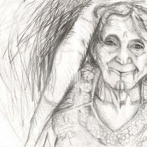 Vieille dame, crayon graphite sur carnet de voyage, réalisé par Natpalette