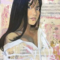 Janice, huile et collages sur toile, 65x50 cm, portrait de voyage réalisé par Natpalette (à retrouver dans la BOUTIQUE)