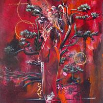 Geisha-Egalité, collage et acrylique sur toile, 55x38 cm, figure de voyage réalisé par Natpalette (à retrouver dans la BOUTIQUE)