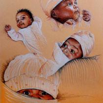 Portraits petite Maeva, aux trois crayons, 42x29.7 cm, réalisé par Natpalette
