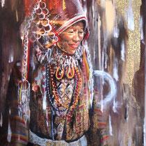 Esprit Akka, collage et acrylique sur toile, 117x90 cm, portrait de voyage réalisé par Natpalette (VENDU)