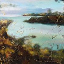 Blés dansants, acrylique sur toile, 50x60 cm, paysage réalisé par Natpalette (à retrouver dans la BOUTIQUE)