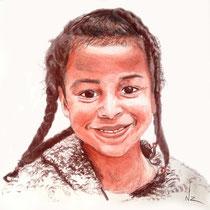 Portrait jeune fille, sanguine et sepia, 29.7x21 cm, réalisé par Natpalette