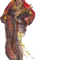 Femme en parure, crayons de couleur sur carnet de voyage, réalisé par Natpalette