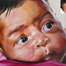 Portrait Maeva, acrylique sur toile, 65x50 cm, réalisé par Natpalette