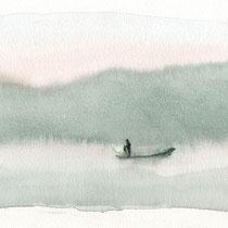 Contemplation du lac Inle au petit matin, aquarelle sur papier aquarelle, carnet de voyage, réalisé par Natpalette