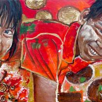 Enfants tanakha, acrylique sur toile, 38x55 cm, portrait de voyage réalisé par Natpalette (VENDU)