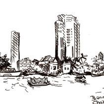 Sur le fleuve Bangkok en Thailande, feutre noir sur carnet de voyage, réalisé par Natpalette