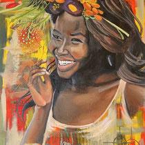 Sourire du soleil, huile, acrylique et collages sur toile, 81x60 cm, portrait de voyage réalisé par Natpalette (à retrouver dans la BOUTIQUE)