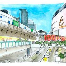 Vue du BTS à l'emporium de Bangkok, aquarelle et stylo sur carnet de voyage, réalisé par Natpalette