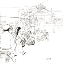 La vie sur les routes, stylo sur carnet de voyage, réalisé par Natpalette