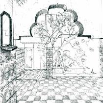 Cour intérieure, stylo sur carnet de voyage, réalisé par Natpalette