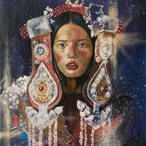 Esprit ethnique, huile et acrylique sur toile, 61x50 cm, portrait de voyage réalisé par Natpalette (VENDU)