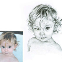 Portrait petite Camille, crayons graphites, 21x29.7 cm, réalisé par Natpalette