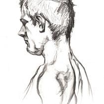 Portrait homme, crayon graphite, 42x29.7 cm, réalisé par Natpalette