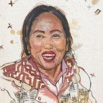 Laos mon Laos, huile sur papier laotien, sur toile, 61x50 cm, portrait de voyage réalisé par Natpalette (à retrouver dans la BOUTIQUE)