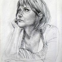 Portrait de Mathilde, fusain, 65x50 cm, réalisé par Natpalette