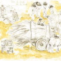 La vie des rues, crayon graphite et aquarelle sur carnet de voyage, réalisé par Natpalette