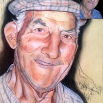 Portrait grand-père, trois crayons, 42x29.7 cm, réalisé par Natpalette