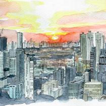 Vue des toits de Bangkok, aquarelle et stylo sur carnet de voyage, réalisé par Natpalette