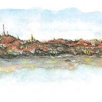 Les collines de Sagaing, aquarelle sur carnet de voyage, réalisé par Natpalette