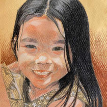 Portrait petite Léna, aux 3 crayons sur papier coloré, 29.7x21 cm, réalisé par Natpalette