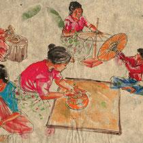 Fabrique d'ombrelles, gouache sur papier de pindaya, réalisé par Natpalette