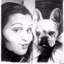 Portrait femme et son chien, crayons graphites, 21x29.7 cm, réalisé par Natpalette