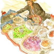 Petite vendeuse du marché du lac Inle, aquarelle sur carnet de voyage, réalisé par Natpalette