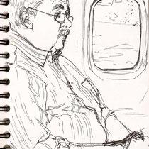 Dans l'avion, stylo sur carnet de voyage, réalisé par Natpalette