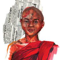 Jeune moine de Mandalay, gouache sur papier journal birman sur carnet de voyage, réalisé par Natpalette