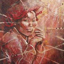 Femme O-Pao, acrylique sur toile, 73x60 cm, Prix Creation du Musée Asiatica, portrait de voyage réalisé par Natpalette (à retrouver dans la BOUTIQUE)