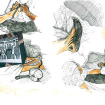 Etapes de pose du henné, aquarelle et stylo sur carnet de voyage, réalisé par Natpalette