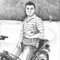 Touareg sédentarisé avec fennec dans les bras, stylo sur carnet de voyage, réalisé par Natpalette