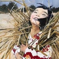 Suzuno, huile et acrylique sur toile, 60x50cm, portrait de voyage réalisé par Natpalette (VENDU)