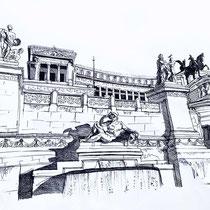 Monument Victor Emmanuel II de Rome, stylo sur carnet de voyage, réalisé par Natpalette