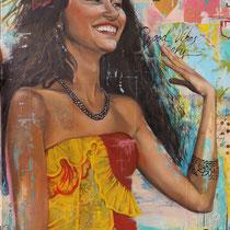 Portrait Maile, technique mixte sur toile, 92x73 cm, réalisé par Natpalette