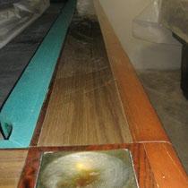 Modello Mantovani 260 con buche in legno e formica - Particolare sponda