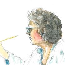 Cathy   Crayon et aquarelle sur papier