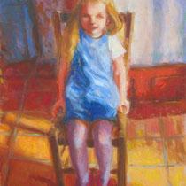 Emma sur la chaise 33x46cm huile sur toile