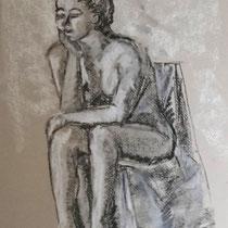 Fusain et pastel blanc sur papier - 65x50 cm - Agnès de Balasy